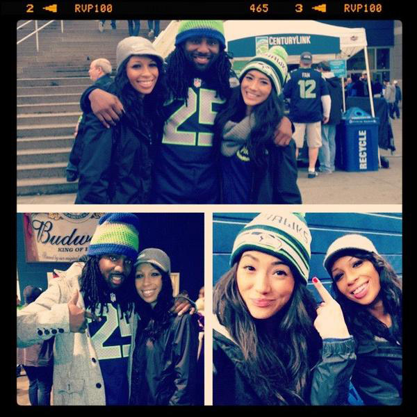 ashley moss with branton sherman seahawks
