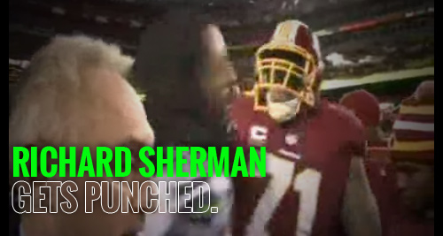 Richard Sherman Gets Punched